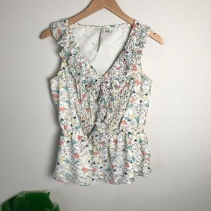 LC Lauren Conrad | Bird Print Peplum Blouse Small